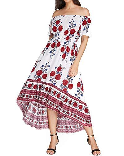 Kidsform Sommerkleider Damen Maxikleid Off Shoulder Bandeau Langes Kleid Boho Kleider Casual Strandkleider Cocktail Abendkleid Weiß M Weiß Trägerlos Cocktail