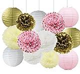 mixtes Or rose Blanc crème papier de soie pompons papier Fleurs en papier Décoration de mariage Baby Shower de mariage Douche fête d'anniversaire Decor