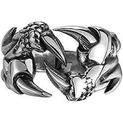 HMILYDYK banda de anillo de garra de Dragon de acero inoxidable 316L Vintage, Biker Gótico Punk Rock de Moda para las mujeres hombres