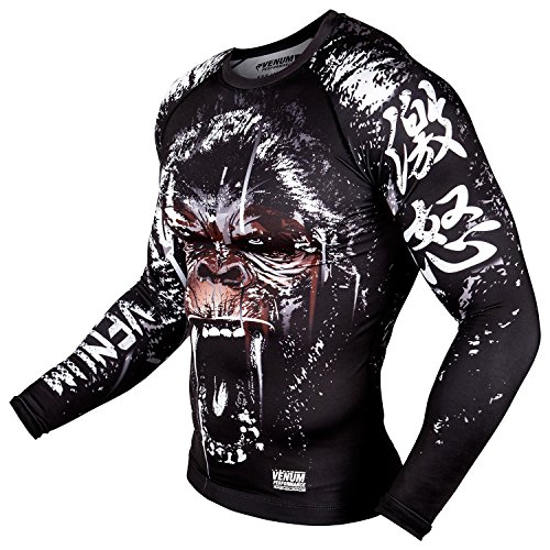 Venum Men's Gorilla Rashguard Long Sleeves, Black, S