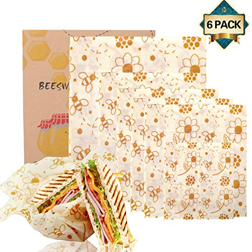 Envoltorio Cera De Abeja,bee's wrap reutilizable paquete de 6 Paquete de envoltorios de alimentos:1*Pequeño, 4*Mediano y 1*Grande-Eco Friendly, Zero Waste utilizado en queso, frutas, verduras y pan