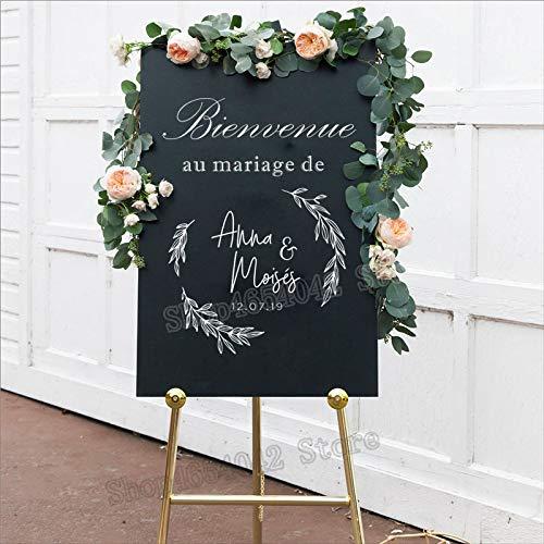yiyiyaya Französisch Bienvenue Willkommen Hochzeit Zeichen Aufkleber Aufkleber rustikale einfache Hochzeit Dekor abnehmbare Vinyl Aufkleber Custom personalisierte 42 * 57 cm