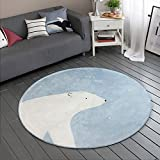 GWELL Süß Bär Fußmatten Runde Teppich Kinderzimmer Weich Plüsch Anti-Rutsch Kinderteppich für Schlafzimmer Wohnzimmer baby blau 100 x 100 cm
