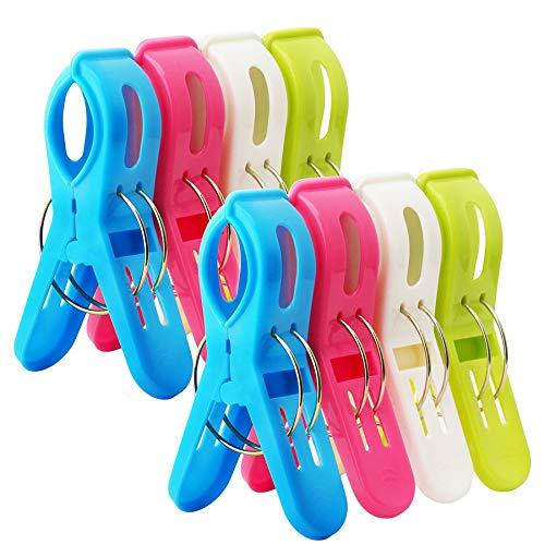 Bingolar 8 große Wäscheklammern Kunststoff Clips Quilt Clips für tägliche Wäsche,Plastic Beach...