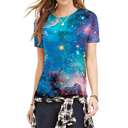 Damen Mode Galaxy Universum Muster T-Shirt Sommer Sportswear Lässige T-Shirt M (Galaxy-fußball-hemd)