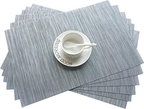 Addfun®Tischsets, Neu PVC Isolierung Rutschfest Isolierung Waschbar Platzdeckchen(Grau, 6er Set)