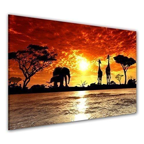 bilder-manufaktur 6777–1Leinwand mit Bilder, Elefanten, Afrika, Giraffe, Wasser