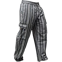 Pantalones Shopoholic Fashion, hippies, de pierna ancha, unisex, bolsillos laterales, diseño de rayas Negro Black mix XL