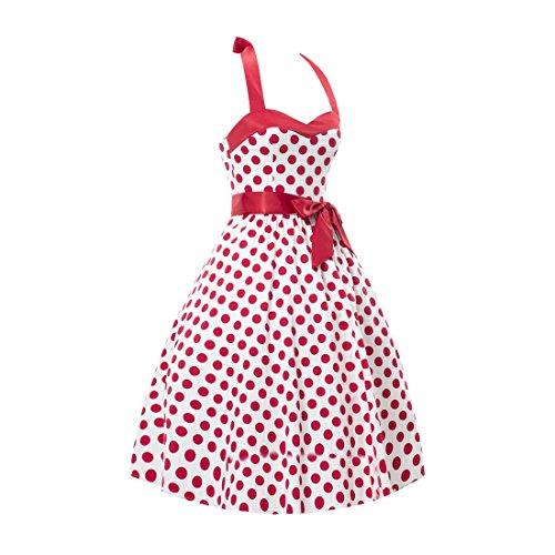 partiss femmes Audrey Hepburn Rétro Années 50Pois Vintage Jupe bulle Nœud Papillon Rockabilly robe pour soirée déguisée White with Red Dots