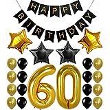 23pcs/lot de 30/40/50/60ans d'anniversaire décorations Décorations de fête d'anniversaire des Ensembles Guirlande fanions Or Nombre Balloon Party Deco 23pcs 60th