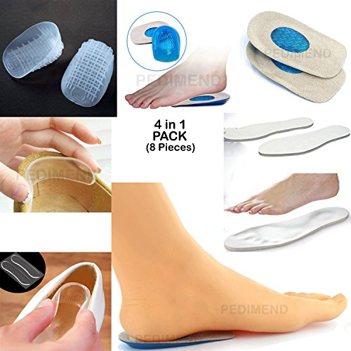 (4in 1) Pedimend metatarso schiena, con piede cuscinetti a sfera callo calli mal di sollievo-Heavy Duty Heel-Pad gel Heel Relief-Portafoglio Heel Relief Pads-Solette in gel-(8pezzi)