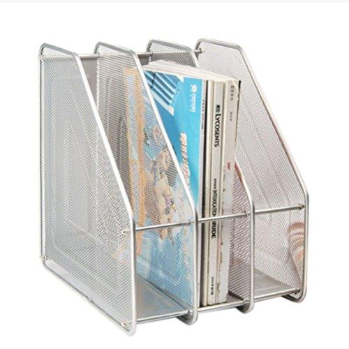 Pixnor Porta Desktop triplice copia Magazine Frames Divisori documento Armadietto porta (Argento)
