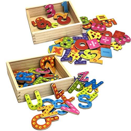 TikTakToo Holz Magnet Buchstaben und Zahlen in Holzkiste mit magnetischen Holzbuchstaben und Magnetzahlen in verschließbarer Kiste aus Holz, mit Anlautbildern zum Schreiben und Rechnen Lernen, ABC
