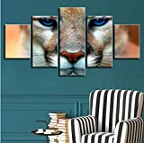 Wiwhy Hd Gedruckt Malerei Kunstwerke Dekor Wohnzimmer Wand 5 Stücke Tier Tiger Blue Eyes PosterModular Pictures Kunst-20X35/45/55Cm