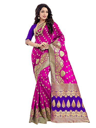 Sarees (Women's Purple Banarasi Silk Saree with Blouse Piece Banarasi Work Saree)