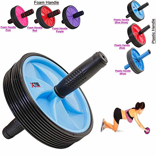 Abs Wheel dual Exercise Roller Gym Abdominal Training Body Fitness Slim Trim Tone Exerciser Back Thigh Arms Waist Workout Machine (Plastic Handle, Blue (Gloss))