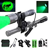 VASTFIRE Single 1 Mode 350 yard Green LED Flashlight for Hunting with dual control Pressure Switch Hog Coyote Predator Light with Picatinny Mount Scope Clip to Rifle AR 15 Gun
