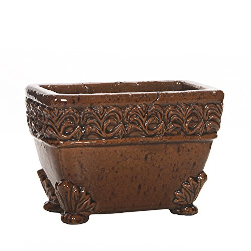 HOSLEY 's 21,6cm lang braun Keramik Übertopf. Ideal für Blumenarrangements, SPA und Aromatherapie Geschenk Körbe (Cube Recyceln)
