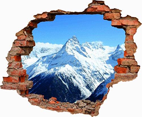 Oedim Vinilo Decorativo Pared 3D Hueco montañas Nevadas 70cm x 57,81cm| Adhesivo Resistente y de Facil Aplicación Pegatina Adhesiva Decorativa de Diseño Elegante|