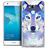 Caseink Coque Housse Etui Huawei Honor 5C [Crystal Gel HD Polygon Series Animal - Souple - Ultra Fin - Imprimé en France] Loup