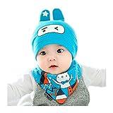Tuopuda® Baby Mütze Lätchen von 2 Set Kids Mädchen Jungen Unisex Wintermütze Winterschal Kids Bibs Cartoon Streifen Baumwolle Triangle Schal Hut Sets Scarf Ha (blau)