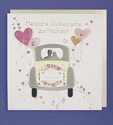 Hochzeit Grußkarte Handmade Applikation Glückwünsche Just Married Hochzeit Auto mit Herzen 21x21cm