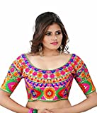 Pavitra Creation Multi colored Designer Unstitched Dhupian Blouse With Kuch Embroidery And Mirror Work Mirror Blouse1