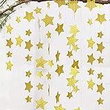 YeeStone Sterne Girlande 4M Geburtstagsgirlande Goldene Sterne Bunting Banner Hangedekoration - für Weihnachten Hochzeit Geburtstag Baby Shower Party Kinderzimmer Wand Fenster