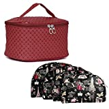 MPK Perfect Cosmetic Bag with Makeup Pouch for Women BLACK (MAROON)