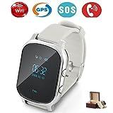Niños Smartwatch GPS tracker con Phone, Smart Watch Niño Reloj de pulsera Tracking en Tiempo Real localizador llaves SIM GSM,, antipérdida, pulsera, SOS,teléfono, t58, plateado