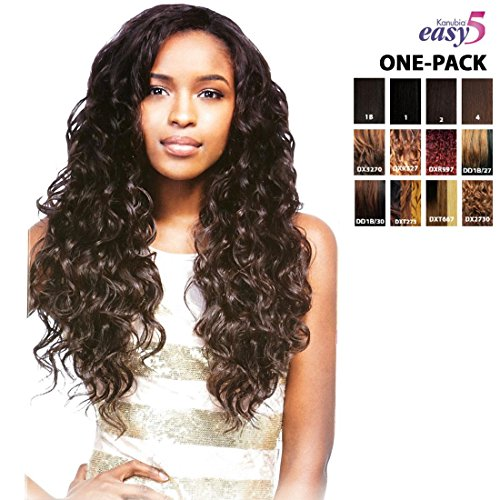 [4 mèches Pack complet + Closure] sensationnel Natural Curly-Easy 5 (kanubia HRF) – Weave One Pack Solution – BRAZILIAN Hair Curl Patterns – Tresse Soyeuses Géante/Weave Extension