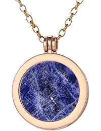 4fb16d1ee54a Morella Mujeres Collar 70 cm Acero Inoxidable Oro y Colgante con Coin  Moneda Amuleto de Piedra