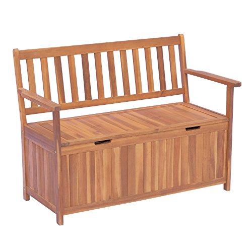 Outsunny Gartenbank Truhenbank Sitzbank mit Stauraum 2-Sitzer Holz Braun B120 x T60 x H87cm