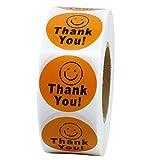 New Hot Sale rund Thank You Smiley, Happy Aufkleber 1000selbstklebende Etiketten pro Rolle orange