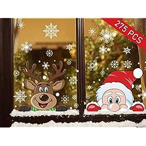 Ptsaying Weihnachten fensterbilder, Weihnachtsmann und Elch Aufkleber, Schneeflocken Fensterbild mit Weihnachtsmann Elk Abnehmbare Weihnachten Aufkleber Fenster(275pcs)