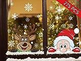 Ptsaying NoëL Autocollants Fenetre NoëL Stickers Décoration DIY Fenêtres Stickers Père Noël Stickers Muraux, Noël Renne Flocons de Neige Stickers