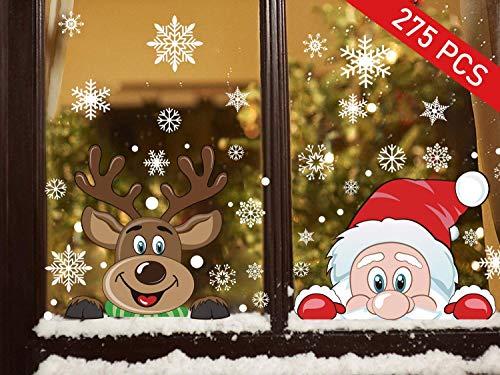 Ptsaying 275 stücke 10 blätter Weihnachten fensterbilder, Weihnachtsmann und Elch Aufkleber, Schneeflocken Fensterbild mit Weihnachtsmann Elk Abnehmbare Weihnachten Aufkleber Fenster