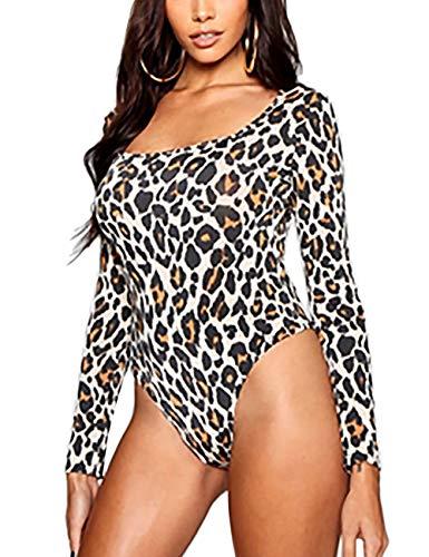 Zebra Bodysuit - SEBOWEL Damen Sexy Body Langarm/Kurzarm Club