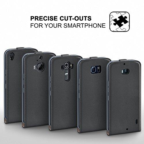 iPhone 6S Hülle Schwarz [OneFlow 360° Klapp-Hülle] Etui thin Handytasche Dünn Handyhülle für iPhone 6/6S Case Flip Cover Schutzhülle Kunst-Leder Tasche ANTHRACITE-GRAY