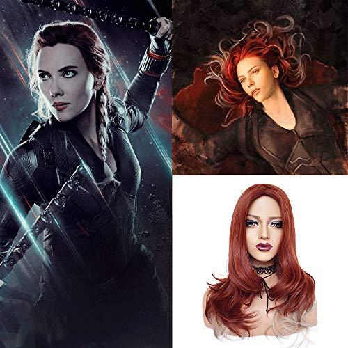 Schwarze Widow-Perücke, für Cosplay-Kostüm, Kunsthaar, für Damen, Rot/Weiß gemischt, zweifarbig, Schulterlänge, Seitenteil für Avenger Endgame (Black Widow Cosplay Kostüm)