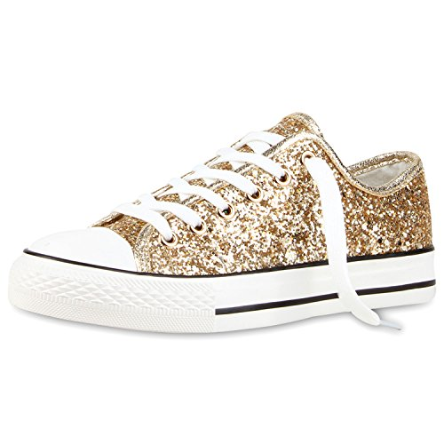 Best-Boots - Chaussure De Sport Femme - Sneakers Chaussure Basse Lacets Gold Neu Nuovo