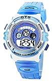 O.T.S - Reloj Digital de Pulsera Deporte 50M Resistente al Agua para Niño Unisex Estudiante Waterproof Wrist Watch - Azul Celeste