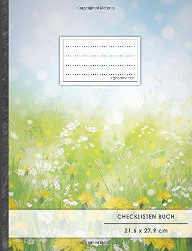 """Checklisten-Buch: DIN A4 • 70+ Seiten, Softcover, Register, \""""Frühlingsblumen\"""" • #GoodMemos • 18 Checkboxen + Platz für Notizen/Seite (inkl. Register mit Datum uvm.)"""