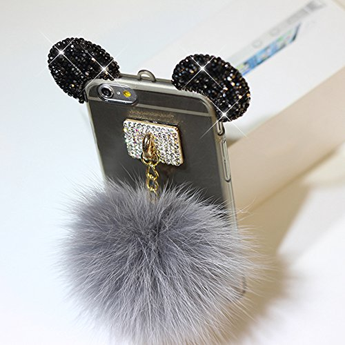 iPhone 7 Plus Hülle, Vandot Glitzer Glänzend Transparent Case für iPhone 7 Plus Handmade Schutzhülle TPU Silikon Diamant Bling Shining Glitter Weich Zurück Cover Telefonkasten Maus Mouse Ohr Ear Ultra Ball Gray0