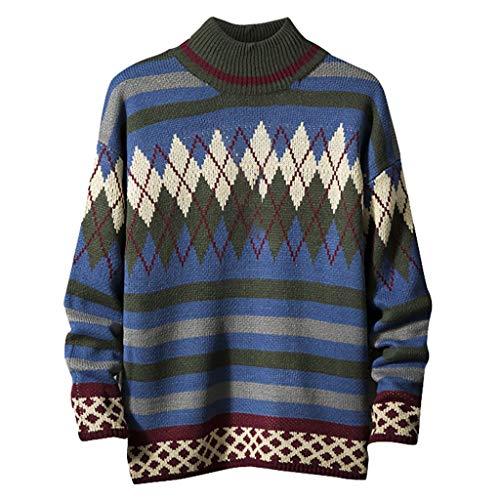 Xmiral Rollkragenpullover Herren Farbblock Spleiß Gestrickt Slim Langarm Rundhals Strickwaren Herbst Winter Outwear T-Shirt Sweatshirts(b Dunkelblau,4XL)