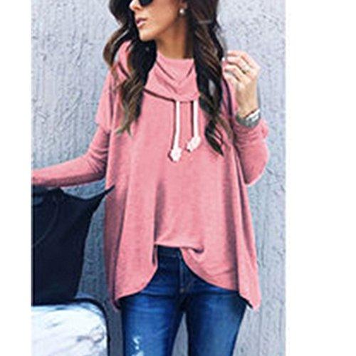Dihope Femme Printemps Automne Sweat à Capuche Sweater Casual Hoodie Sweat-shirt Top Manches Longues Veste Rose