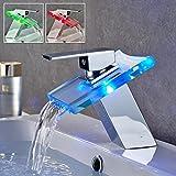 Auralum®Grifos de Monomando para fregadero,Grifo mezclador,Cascada grifos del lavabo de cristal con luz led RGB