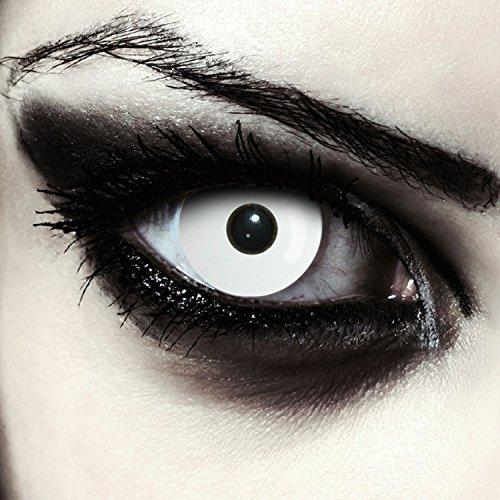 (Weiße farbige Zombie Kontaktlinsen für Halloween Kostüm komplett in weiß, 2 Stück, Designlenses, Model: Whiteout + gratis Kontaktlinsen Behälter)