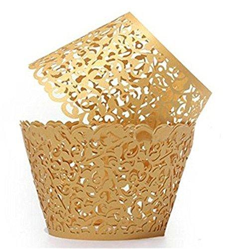 nicebuty Cupcake Halter Design Decor Wrapper-Packungen Cupcake Muffin Papier-Inhaber (goldgelb)