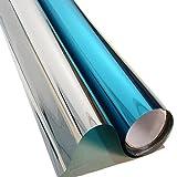 HOHO Reflektierende Solar Spiegel Fenster, Silbertönung, Film One Way, Privatsphäre Glasaufkleber in Opaque Weiß, Schwarz für Privatsphäre, Film-UV-Schutz, Dekoration152,4x 50,8cm blau